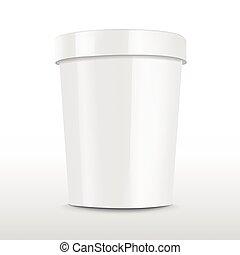 alimento, em branco, recipiente, plástico