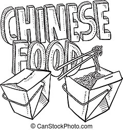 alimento, esboço, chinês