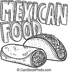 alimento, esboço, mexicano