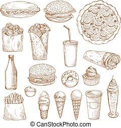alimento, esboço, vetorial, rapidamente, ícones
