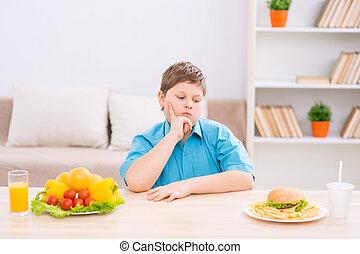 alimento, escoger, regordete, mesa., niño