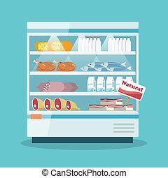 alimento, esfriando, supermercado, cobrança, prateleiras