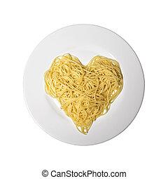 alimento, espaguetis, italiano