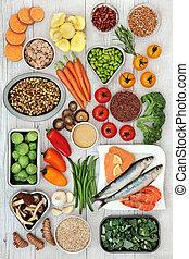alimento, estilo vida saudável, super