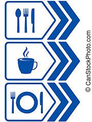 alimento, estrada, sinal seta