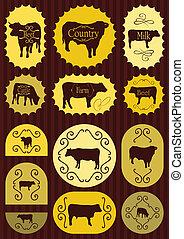 alimento, etiquetas, carne de vaca, ilustración, ganado
