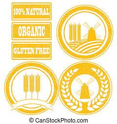 alimento, etiquetas, cobrança, selos borracha, grão, cereal, laranja, produtos, inteiro
