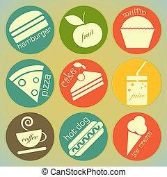 alimento, etiquetas, jogo, retro, redondo