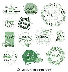alimento, etiquetas, orgânica, elementos