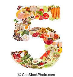 alimento, feito, 5, número