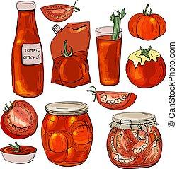 alimento, feito, tomates vermelhos