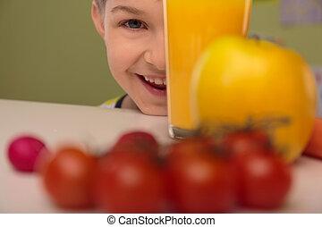 alimento, feliz, criança