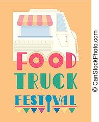 alimento, festival, caminhão, ilustração, lettering