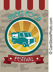 alimento, festival, panfleto, rua