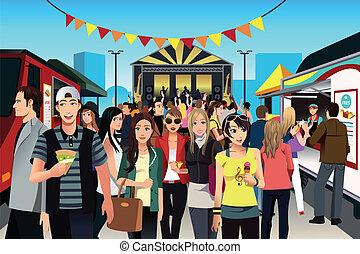alimento, festival, pessoas rua