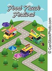alimento, festival, rua, caminhão, cartaz