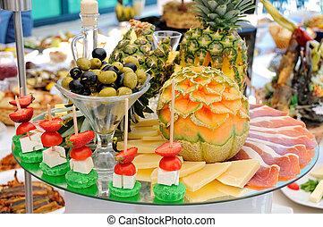 alimento, fiesta, abastecimiento