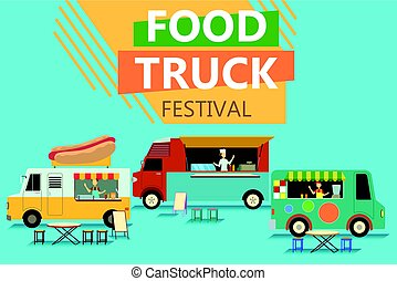 alimento, fiesta, calle, camión, cartel