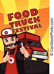 alimento, fiesta, camión, cartel