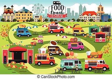 alimento, fiesta, camiones, mapa