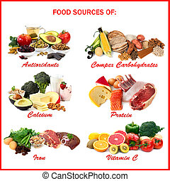 alimento, fontes, de, nutrientes