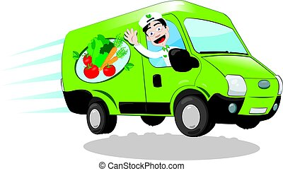 alimento, fresco, camionetade departo
