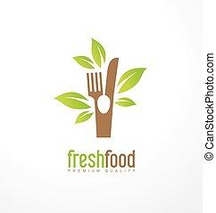 alimento, fresco, conceito, desenho, logotipo