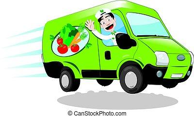 alimento, fresco, entrega van