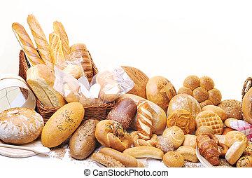 alimento, fresco, grupo, bread