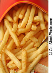 alimento, frita, rapidamente, francês