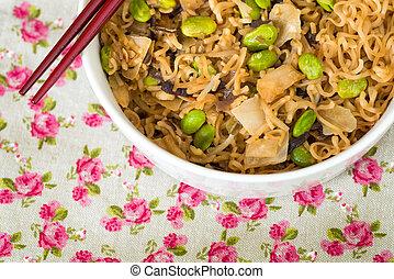 alimento, fritado, asiático, noodle
