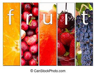 alimento, fruta, fresco, uvas, composto, arandos vermelhos, morangos, cru