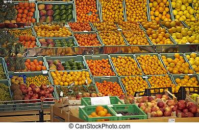 alimento, fruta, mercado