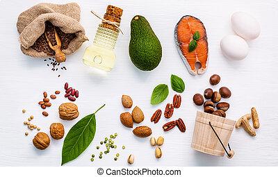 alimento, fuentes, 3, selección, omega