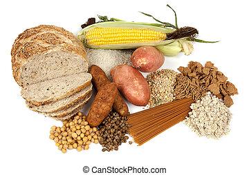 alimento, fuentes, carbohidratos, complejo