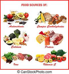 alimento, fuentes, de, nutrientes
