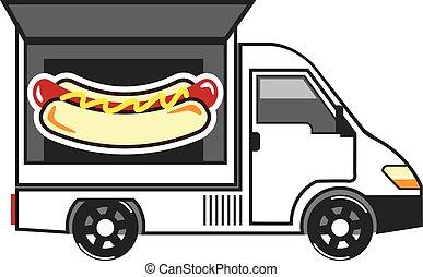 alimento, furgão, caminhão, catering