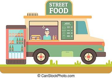 alimento, furgoneta, tienda, rápido