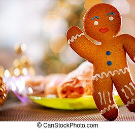 alimento, gingerbread, feriado, natal, man.