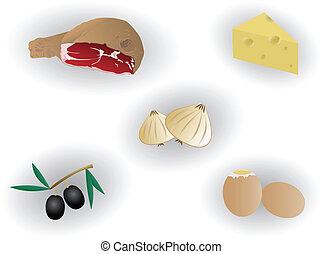 alimento, gostosa, ilustração