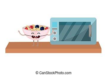 alimento, gostoso, caricatura, gostosa