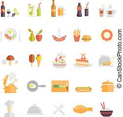 alimento, grande, bebida, conjunto, iconos