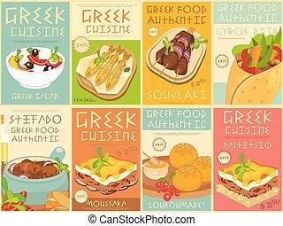 alimento, griego, conjunto, carteles