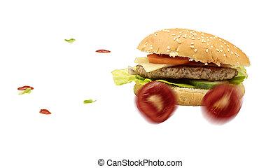 alimento, hambúrguer, é, entregado, rapidamente