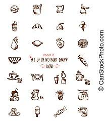 alimento, hand-drawn, esboço, linha, ícones, frutas, e, bebidas