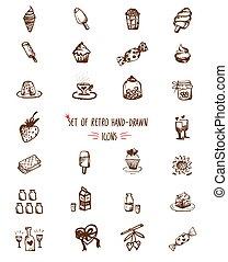 alimento, hand-drawn, linha, esboço, ícones