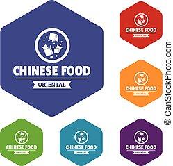 alimento, hexahedron, vetorial, chinês, ícones