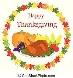 alimento, hojas, acción de gracias, plano de fondo, feliz