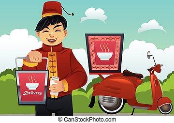 alimento, hombre, chino, entregar