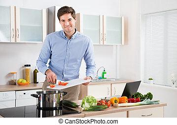 alimento, hombre, preparando, cocina